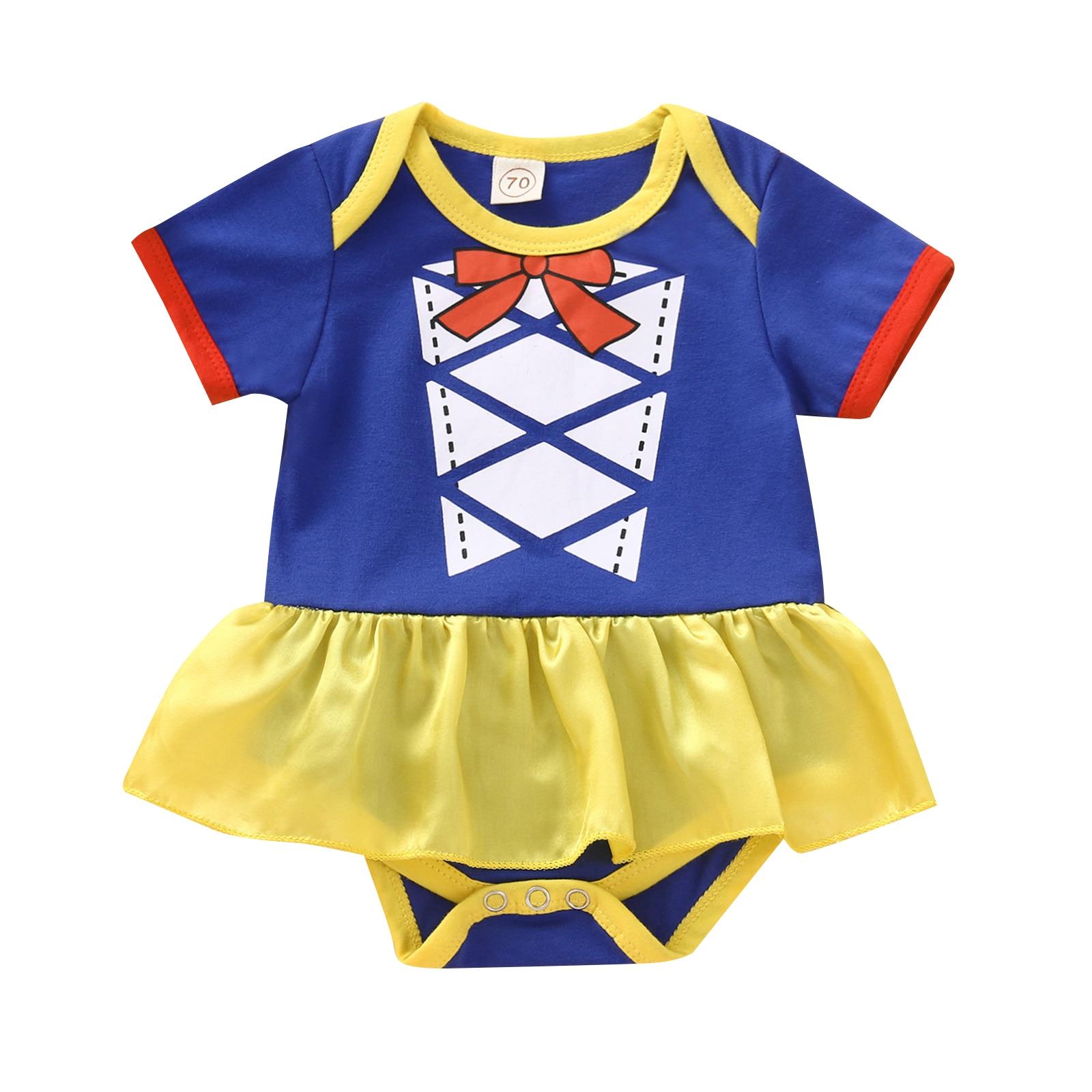 Princess Baby Girls Bodysuits Dress Pattern Patchwork Short Sleeve Lace Tutu Jumpsuits 0-24M