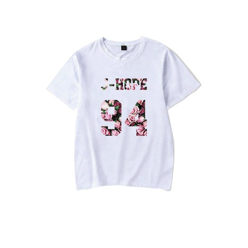 Kpop J-HOPE biały T-shirt Kpop moda Bangtan koszulka z krótkim rękawem lato czarny T-shirt nowości Kpop bangtan chłopcy J-HOPE