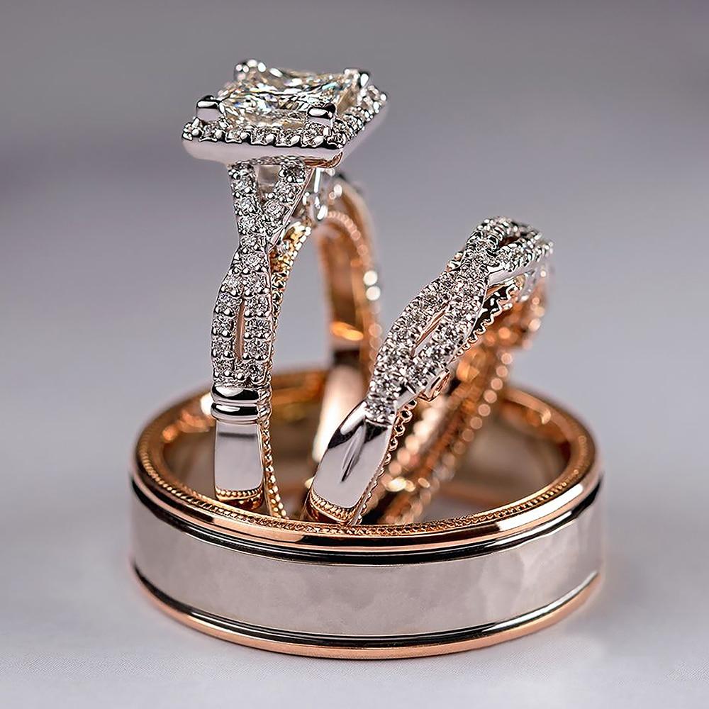 Huitan Prachtige 3 Stks/set Vrouwen Trouwringen Mozaïek Aaa Cz Twee Tone Romantische Vrouwelijke Verlovingsringen Mode-sieraden Top Kwaliteit