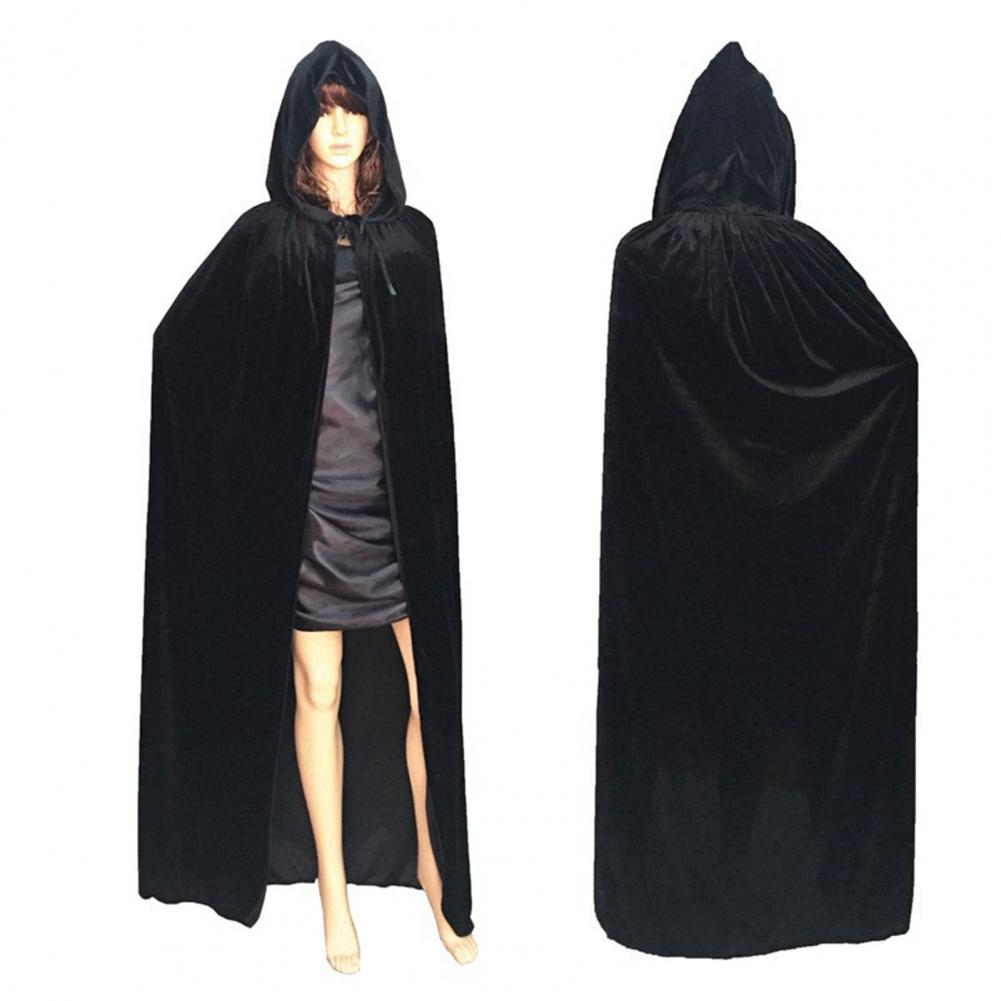 Hooded Thicker Unisex Cloak Coat Extra Long Lace Up Halloween Cape Medieval Costume