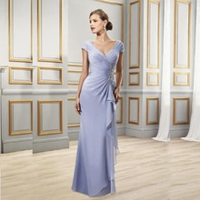 Plus Size Mother Of The Bride Dresses A-line V-neck Cap Sleeves Chiffon Appliques Long Groom Mother