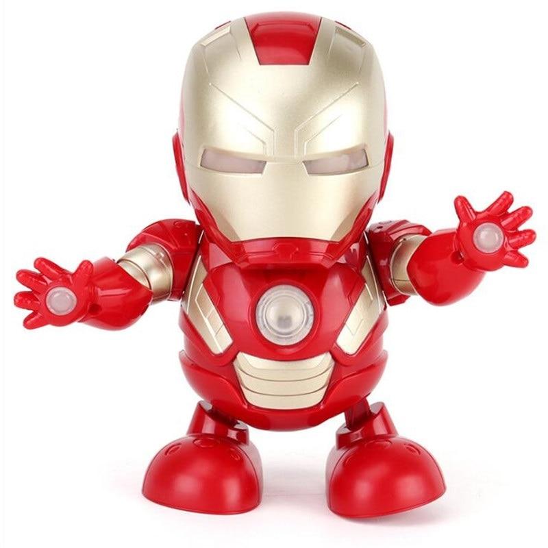 Обновленный танец Железный человек RC робот игрушка танец Мстители электронная игрушка флэш-светильник со звуком Музыка мстители Супер игрушки в виде героев