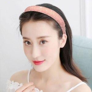 Big Size Headband Rhinestone Beaded Hair Hoop Full Crystal Wide Side Hairbands Shining Head Hoop Thick Sponge Hair Accessories