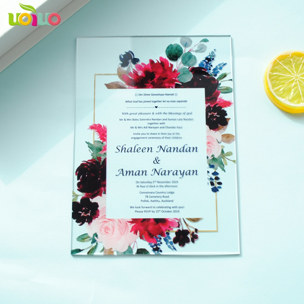 10 Uds. Impresión personalizada acrílico Tarjeta de tarjeta de invitación de boda