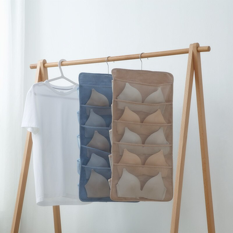 Armário pendurado organizador malha bolsos girando cabide dupla face prateleira de parede guarda-roupa sacos de armazenamento oxford pano para sutiã roupa interior