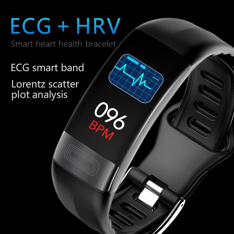 P11 pantalla a Color pulsera inteligente ECG + FLV ECG Monitor de presión arterial Monitor deportes paso 67 USB impermeable