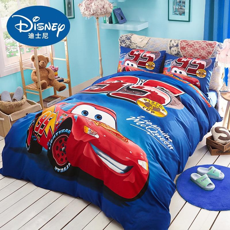 2019 Disney Classic Mcqueen cars print bedding set bed linen 3pcs/4pcs duvet cover set Cartoon bed sheet boy kids bed set quilt galaxy print full over bed sheet set
