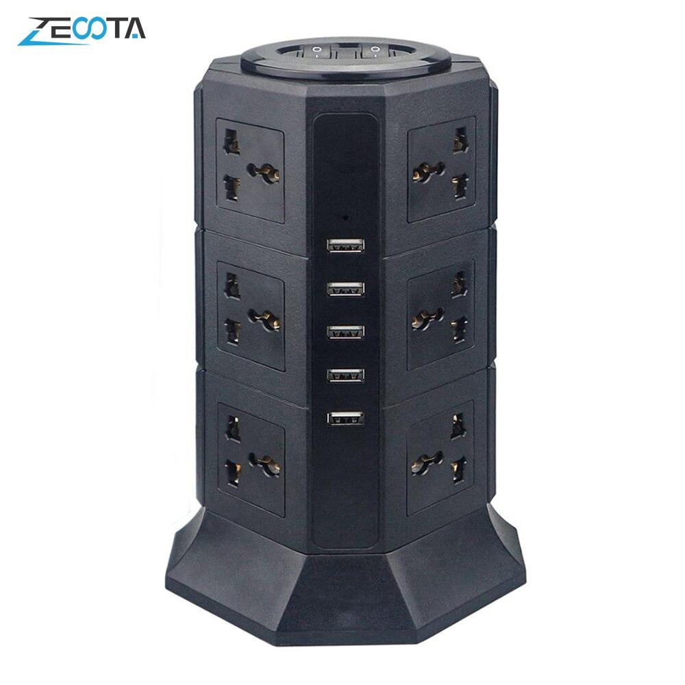 USB Power Streifen Vertikale 8/12 EU/UK/US/AU Stecker Universal Outlet Steckdosen mit Ladegerät Surge Protector 6,6 ft/2m Verlängerung Kabel