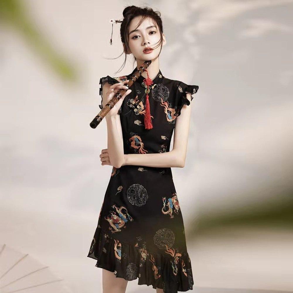 Women Chinese Style Dragon Embroidery Cheongsam Gothic Retro Sexy Slim Qipao Japanese Harajuku Club Bodycon Party Mini Dress