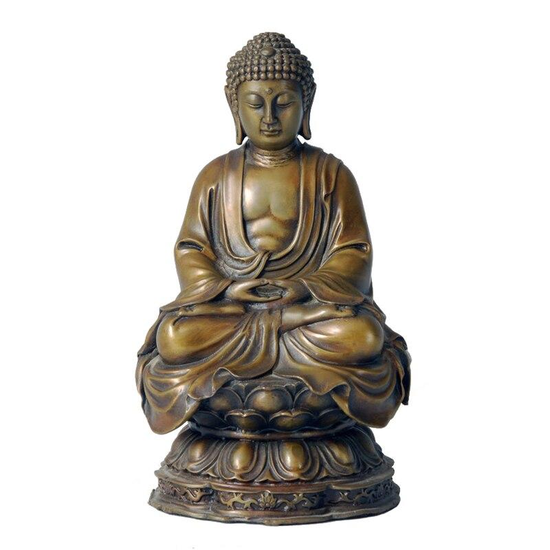 Estatua de Buddha Amitabha de bronce, Budismo Amitayus, escultura, figurita para decoración, colección