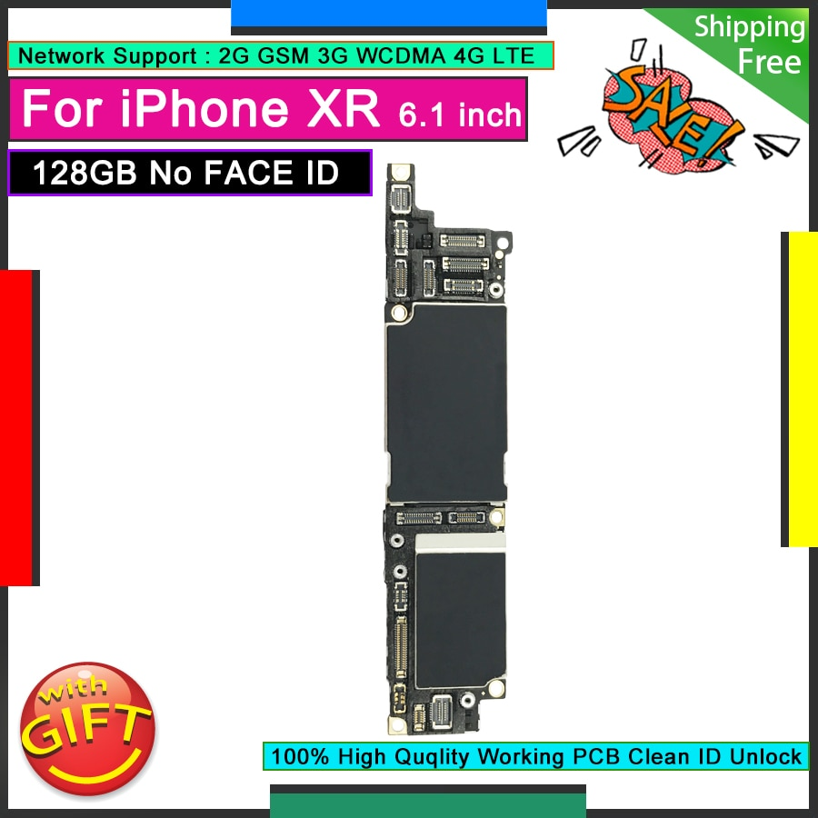 Promo Free iCloud Unlocked Motherboard For IPhone XR 128GB Original OK Logic Board Good Mainboard without NO Face ID Full Function