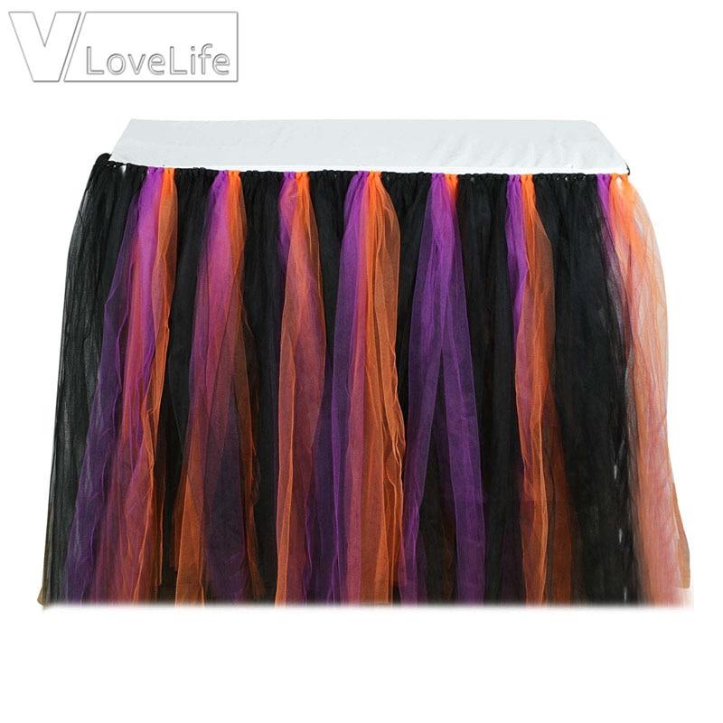 Halloween negro naranja púrpura tutú de tul falda DE LA MESA textil del hogar faldas de la Mesa de la decoración de la fiesta de la Ducha del bebé