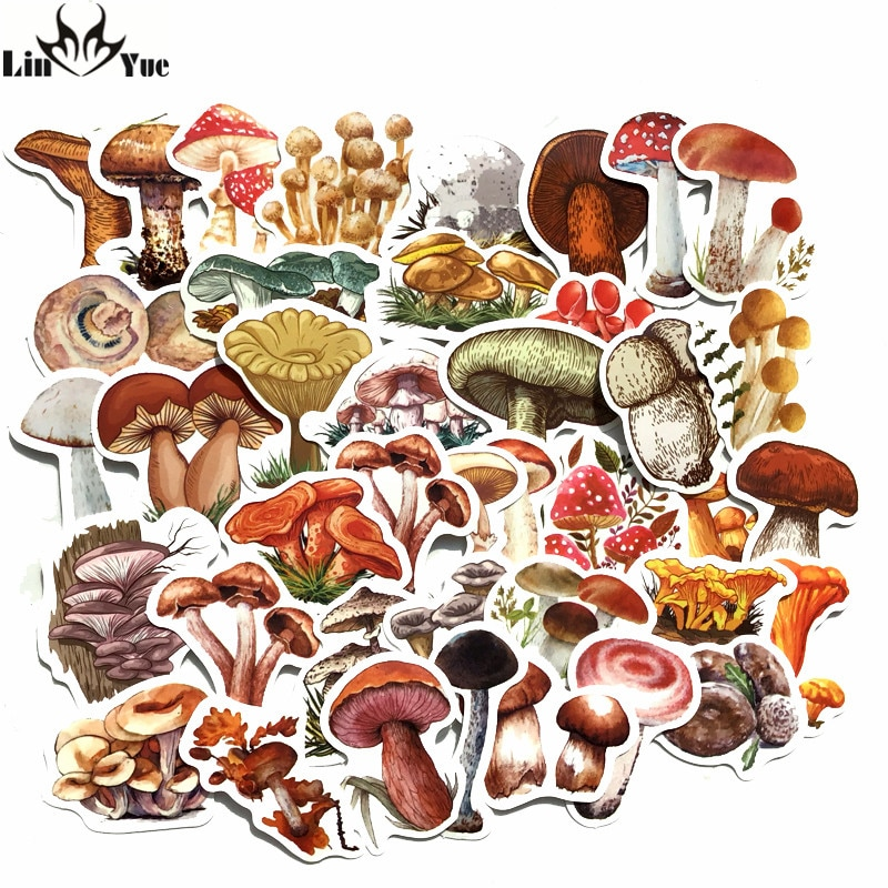 linyue-40pcs-adesivo-fungo-cartone-animato-funghi-acquerello-impermeabile-conto-mano-diario-planner-adesivi-di-cancelleria