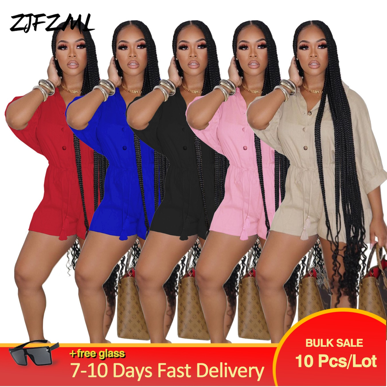 Bulk Items Wholesale Lots Early Fall Short Jumpsuits Women Buttons Up Half Sleeve Bohemian Beach Playsuit Bodysuit Streetwear