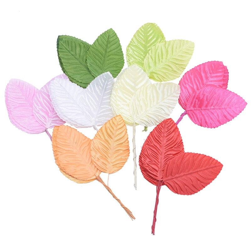 100Pcs Mini Nylon Silk Green Leaves Artificial Flower For Wedding Decoration DIY Wreath Gift Scrapbooking Craft Fake Flower