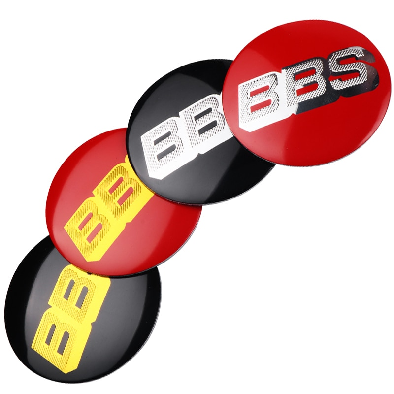 4 Uds. Logo de aluminio de 56MM BBS para tapacubos centrales de coche cubierta con emblema insignia decoración pegatinas para BBS estilo de coche