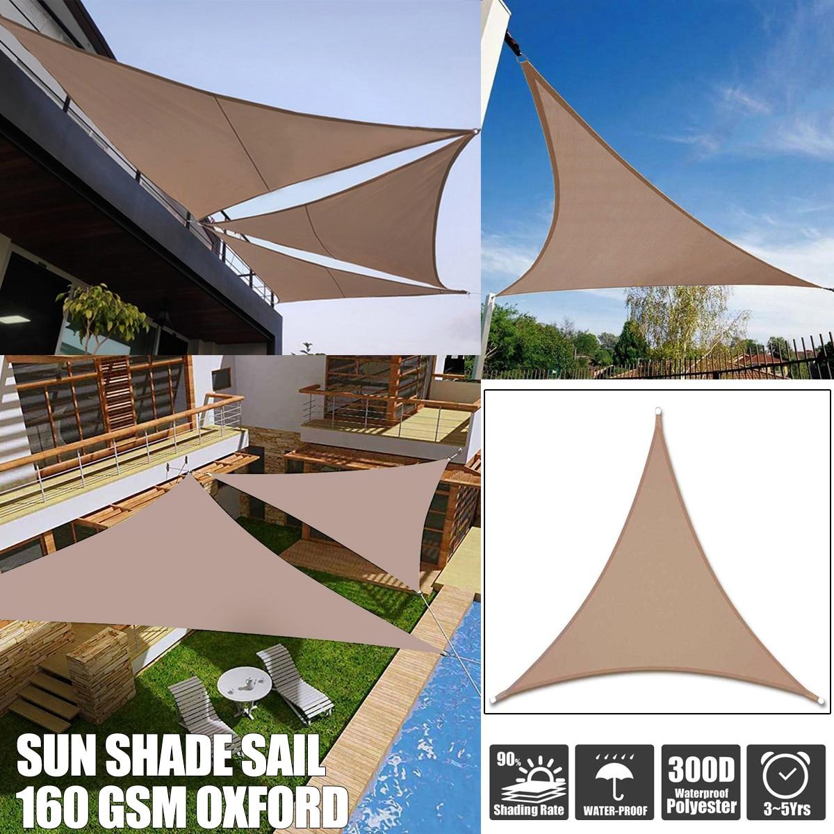 Toldo de poliéster impermeable 300D 3x 3/4x 4/5x 5/6x6m 8 tamaños caqui Regular triángulo sombra toldo jardín refugio al aire libre