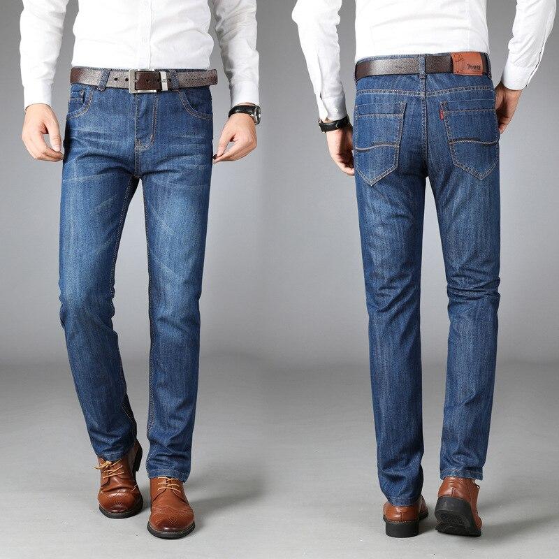 Мужские прямые джинсы, повседневные джинсы, свободные мужские брюки, облегающие мужские брюки со средней талией