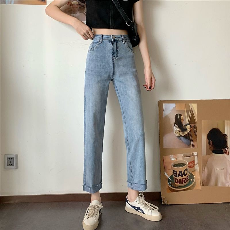 Short with Petite 145 High Waist Jeans Women's 2021 Spring Straight-Leg Pants Cropped Pants Small 15