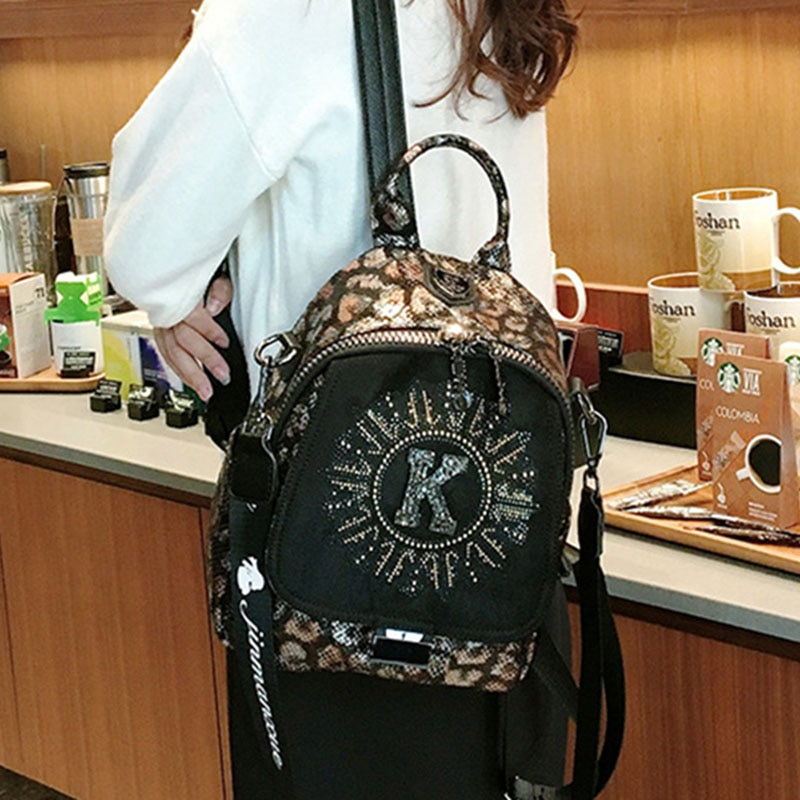 Ita Bag Manmade Leather Backpack Women Diamond Animal Prints Small Backpack Shoulder Duel-use Brand Mochila