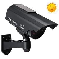 solar power dummy camera security waterproof fake camera outdoor indoor bullet led red light monitor cctv surveillance camera