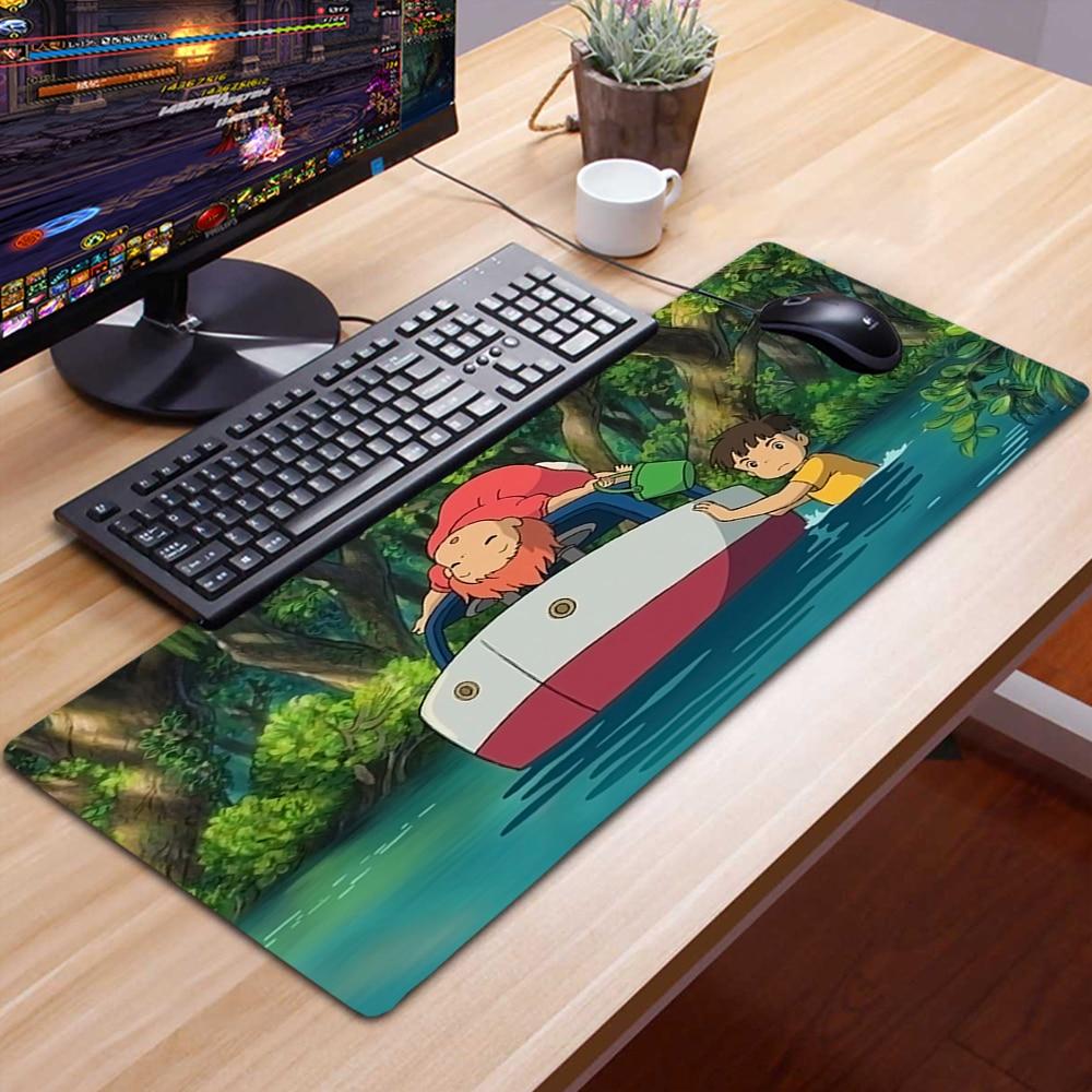 Большой коврик для мыши с аниме понё, милые игровые аксессуары, нескользящий коврик для мыши, геймерский коврик для мыши, коврик для мыши 90x30