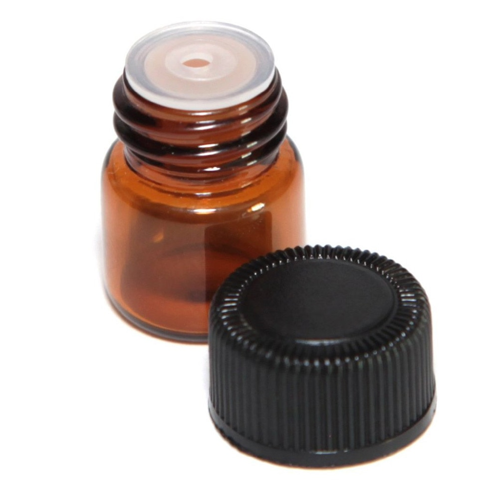 2021 new 12pc 1 ml Amber Essential Oil Bottle with Orifice Reducer and capso hot sale