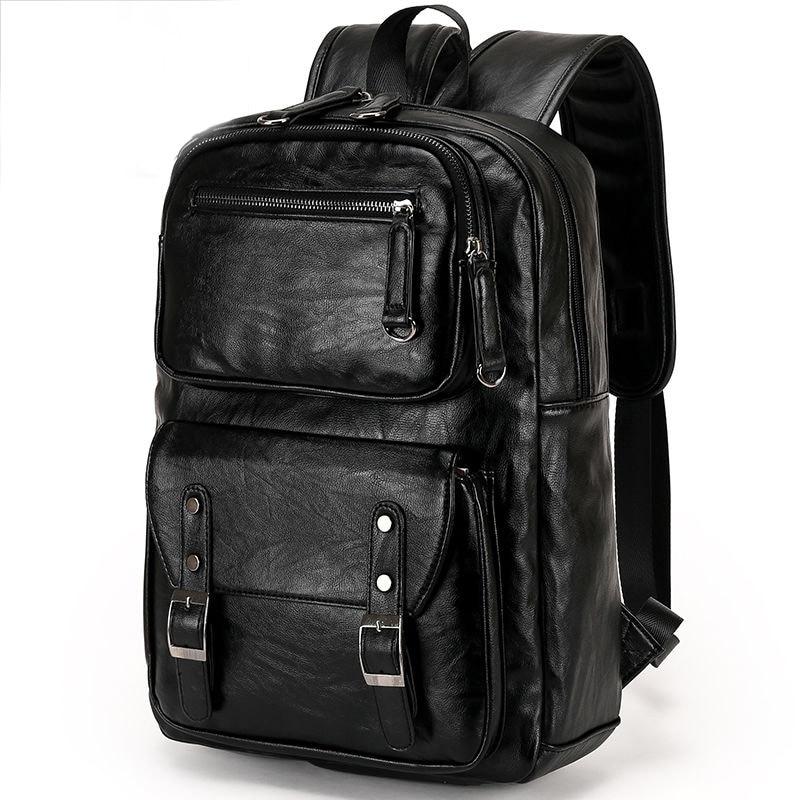 حقيبة ظهر من الجلد الطبيعي للرجال ، حقيبة ظهر كاجوال للرجال ، حقيبة أعمال ، حقيبة كمبيوتر ، 100%