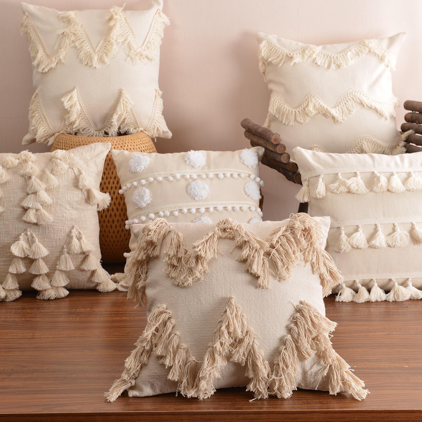 Estilo bohemio funda de cojín de felpa con borlas bonito círculo marroquí funda de cojín de estilo macramé hogar sofá decorativo drop shippng