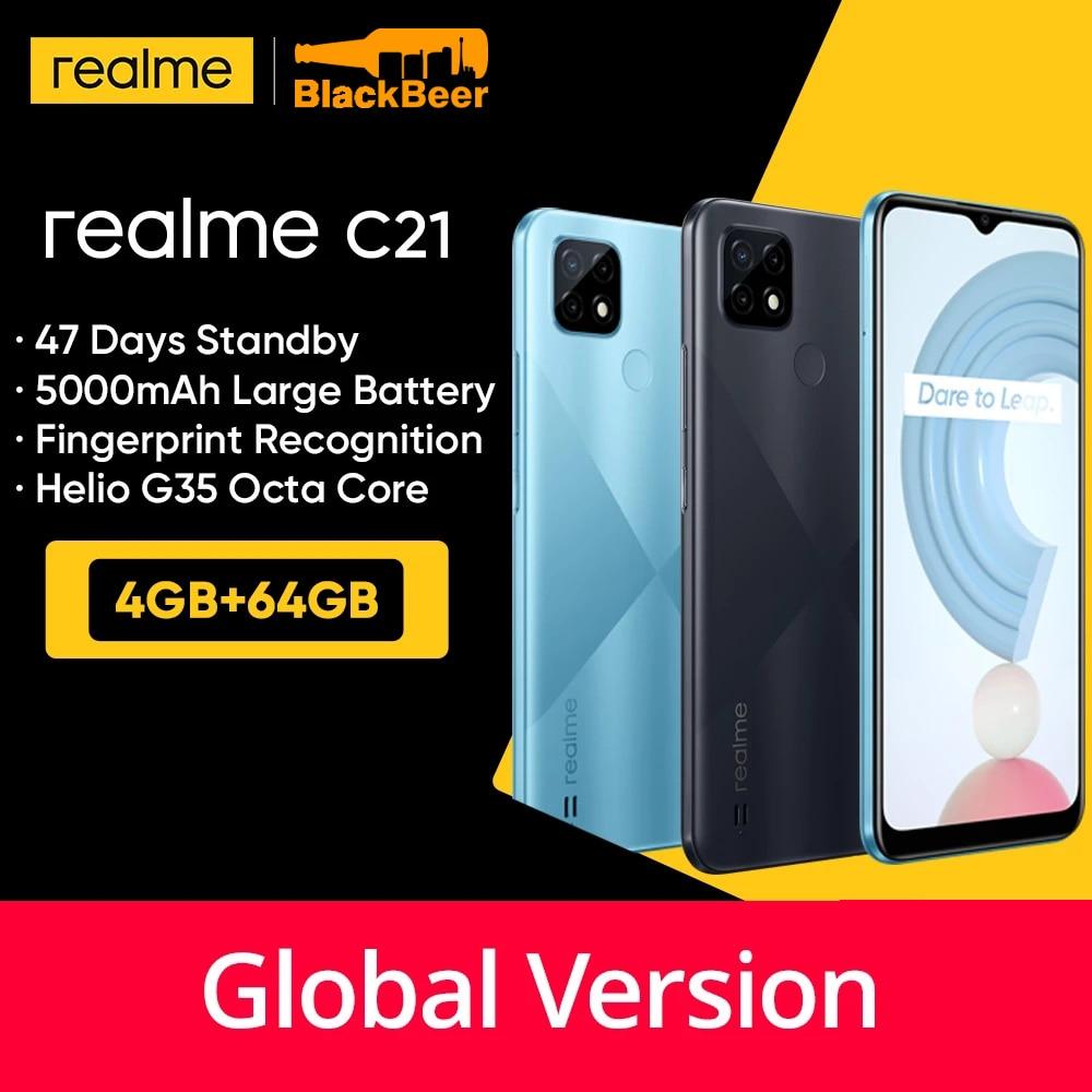Перейти на Алиэкспресс и купить Realme C21 4G мобильный телефон 4 Гб 64 Гб Helio G35 смартфон Восьмиядерный 13 МП Тройная задняя камера мобильный телефон Глобальная версия 5000 мАч OTG