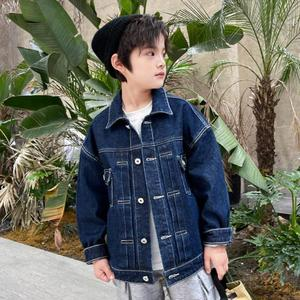 Autumn Spring Denim Jackets For Boys Children Single Breasted Turn Down Collar Coats Kids Outdoor Casual Outerwear 5-14Y