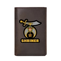 high quality men wallet genuine leather freemason shriner printing card holders male slim mini short purse