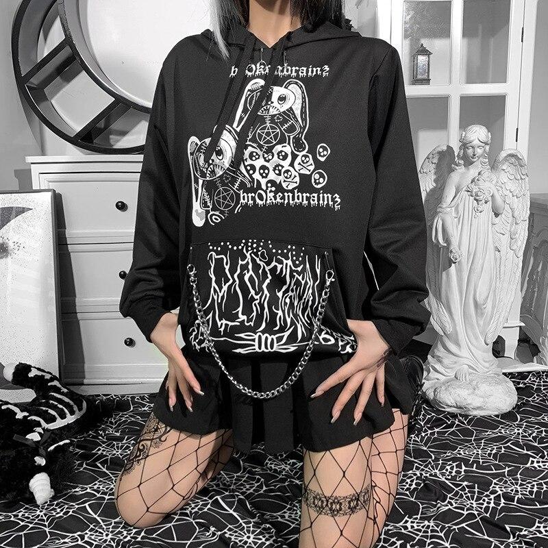 Худи в готическом стиле, свободное худи в стиле Харадзюку с принтом в виде темных кроликов и цепей, однотонное худи в готическом стиле, y2k, 2021