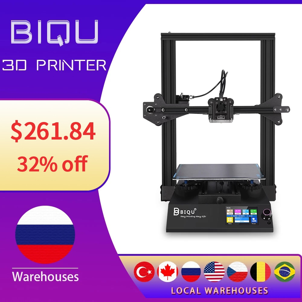 BIQU B1DIY Kit 3D Printer Print Size 235*235*270 mm with Resume Printing TFT35 Screen 32Bit Motherboard 3d принтер For Beginners