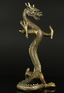 [Artware]  Collectible Sculpture Old Handwork Carving Bronze Fierce Standing Dragon Statue Desktop Decoration
