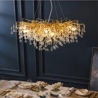 modern luxury crystal chandelier restaurant light creativity gold led chandelier loft hall bedroom living room indoor lighting