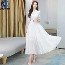 Модное богемное летнее платье для женщин 2021 с коротким рукавом Элегантное облегающее миди длинные кружевные платья размера плюс белый Винт...