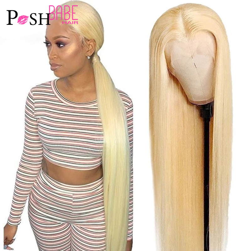 613 Honey Blonde Color Remy Brazilian Straight Lace Front Human Hair Wig 8 - 34 inch 1B 613 Ombre Frontal Wigs for Black Women