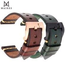 MAIKES Handmade Italienische Leder Uhr Band 18mm 19mm 20mm 21mm 22mm 24mm Vintage Uhr strap Für Panerai Omega IWC Armband