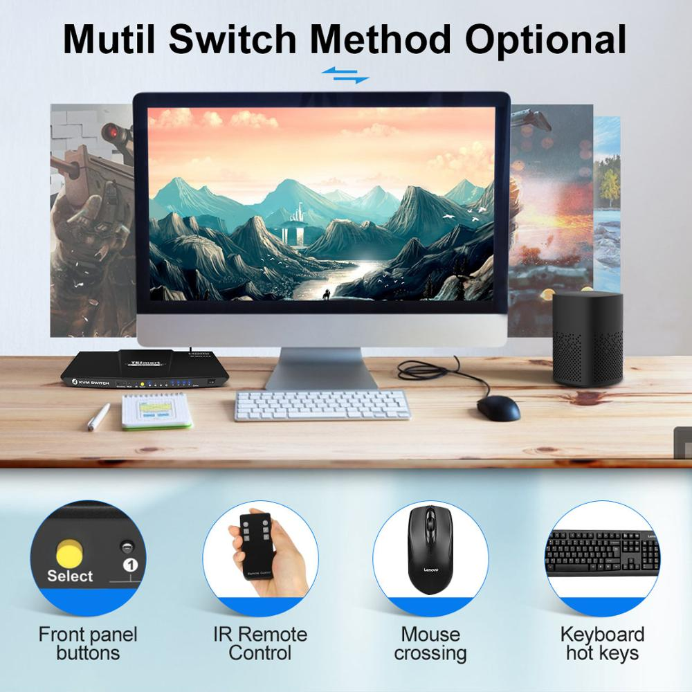 KVM Switch HDMI 4 Ports HDMI KVM Switch 4 In 1 Out KVM 4 Ports HDMI Switch 4x1 Up to 4K@60Hz Strong Compatible About KVM enlarge