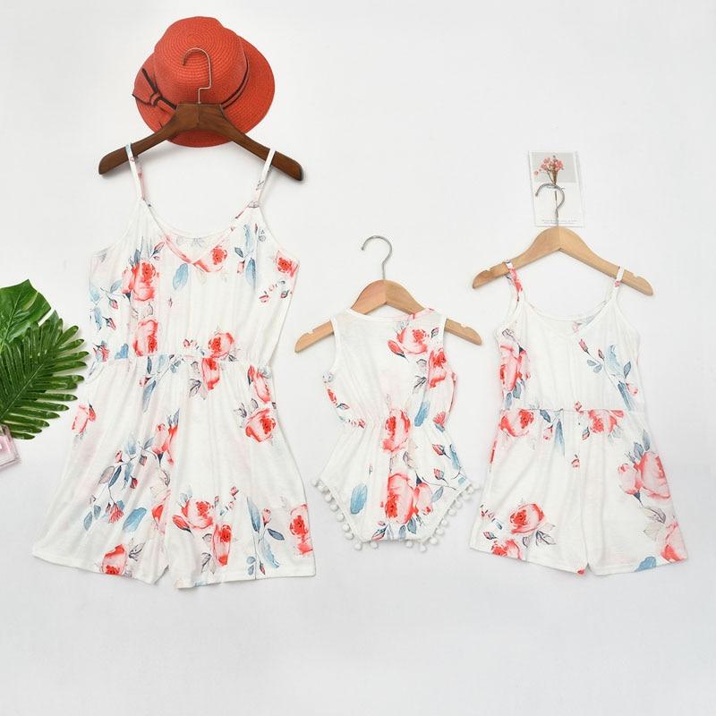 Mãe mãe e bebê meninas macacão família combinando roupas mãe e mãe mãe mãe mãe mãe e filha vestidos