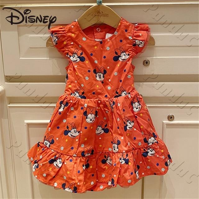 Disney Minnie Polka Dot Cartoon Girl Children's Dress Back Hollow Bow Red Dress Cartoon skirts for women women clothes