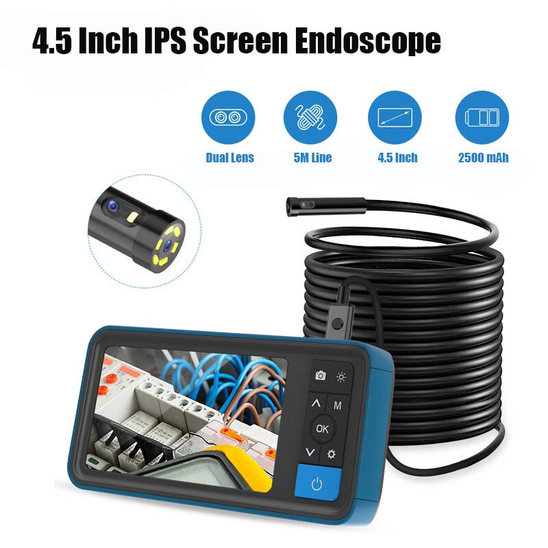 Cámara de inspección de doble lente de 8 Mm, endoscopio 4,5 P IPS Sn de 1080 pulgadas, boroscopio Industrial de tubo impermeable IP67 con línea de 5M
