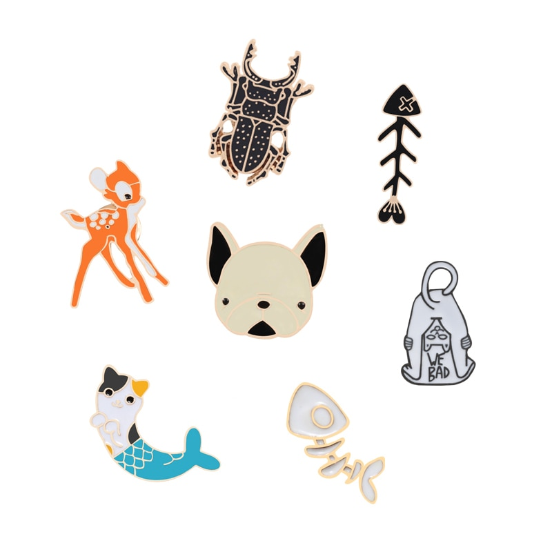 8 Style Animal Metal Pins Beetle Fish Bone Bread Swallow Dog Head Deer Mermaid Cat Jewelry Brooches Children Coat Backpack Icon