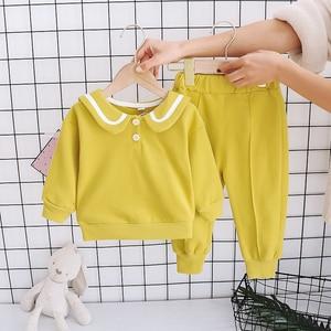 Children's 2021 Spring Autumn Navy Collar Neck Long-Sleeved Trousers 2pcs/set baby boys girls jogging Korean tracksuit 1-4Y