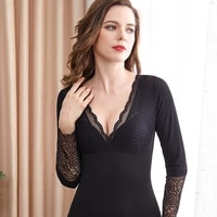 winter warm tops lace v neck long sleeved thermal clothing plus velvet thickening body shaping plus size thermal underwear women