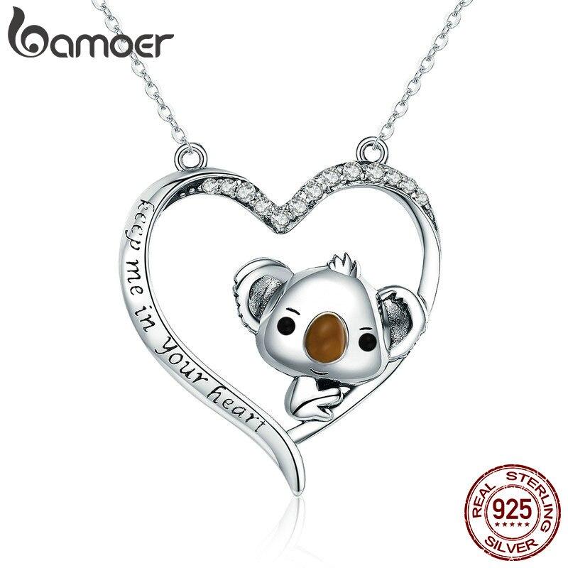 Женское Ожерелье с кулоном BAMOER, красивая коала из серебра с натуральным 925 пробы, SCN256