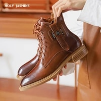 high quality shoes woman 2021 autumn new arrival thick heels round toe ankle boots genuine leather lace up solid boots for women