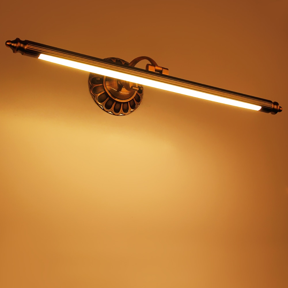 Lámpara de pared zerouno led de cobre de lujo, lámpara de pared montada en material de cobre real, accesorios de espejo de baño de 50cm 70cm 90cm 12w