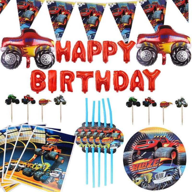 Blaze and the Monster Machines Birthday Party Decorations Banner Paper Cup Straws Balloon Boys Baby